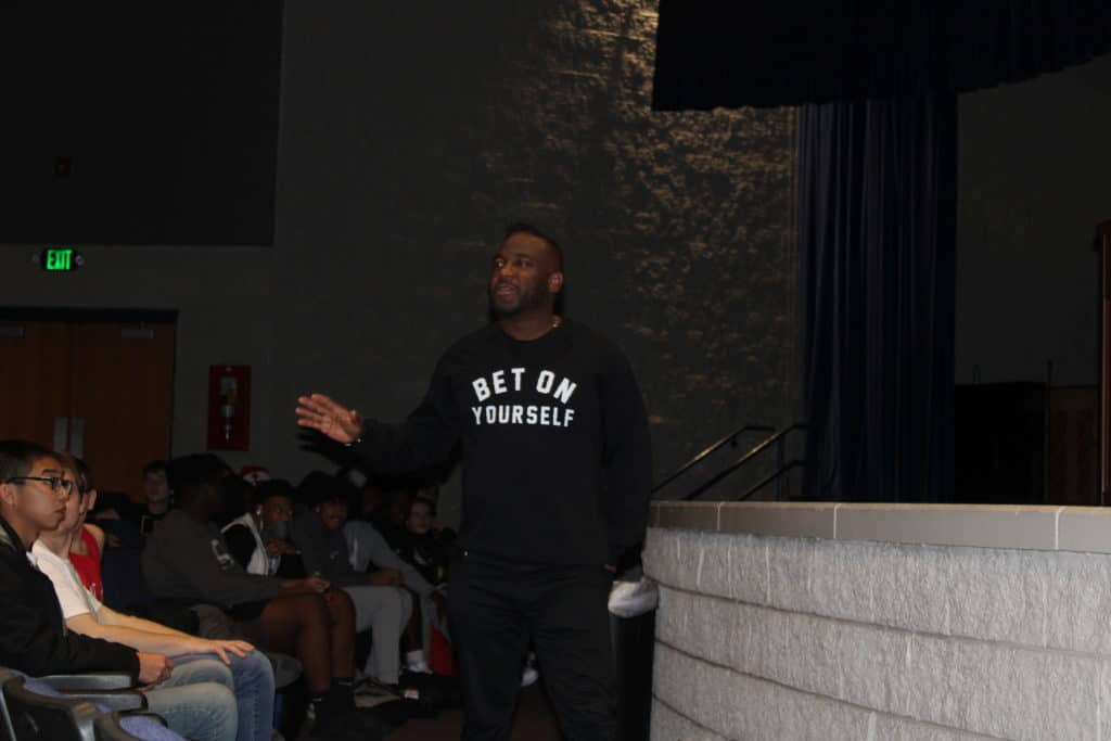 Dr. Hodges speaking to an assembly